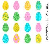 16 color eggs for easter banner ... | Shutterstock .eps vector #1322192069