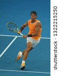 Small photo of MELBOURNE, AUSTRALIA - JANUARY 24, 2019: Seventeen times Grand Slam champion Rafael Nadal of Spain in action during his semifinal match at 2019 Australian Open in Melbourne Park