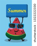 cartoon watermelon and summer... | Shutterstock .eps vector #1322222330