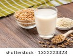 homemade soy milk and soybean...   Shutterstock . vector #1322223323