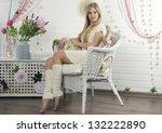 beautiful blonde in a white | Shutterstock . vector #132222890