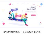 online dating  social teenagers.... | Shutterstock .eps vector #1322241146
