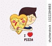 heart shaped pizza vector... | Shutterstock .eps vector #1322284883