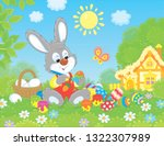 little grey bunny painting... | Shutterstock .eps vector #1322307989