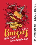 vector banner with burger in...   Shutterstock .eps vector #1322310713