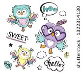 cute set with funny three owls... | Shutterstock .eps vector #1322314130