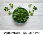 parsley leaves flat lay. fresh... | Shutterstock . vector #1322314190