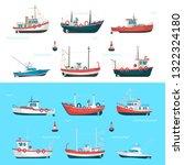 fishing boats set. fishing... | Shutterstock .eps vector #1322324180