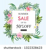 summer sale banner with... | Shutterstock .eps vector #1322328623