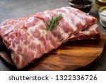 fresh raw pork ribs with... | Shutterstock . vector #1322336726