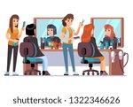 people in barber shop.... | Shutterstock .eps vector #1322346626