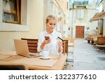 working  traveling and online... | Shutterstock . vector #1322377610