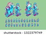 vector isometric abstract font... | Shutterstock .eps vector #1322379749