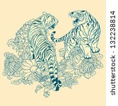 two tigers in the chinese style | Shutterstock .eps vector #132238814