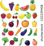 cartoon vegetables and fruits | Shutterstock .eps vector #132239408