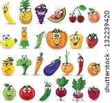 cartoon vegetables and fruits | Shutterstock .eps vector #132239420