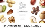 realistic natural nuts concept | Shutterstock .eps vector #1322462879
