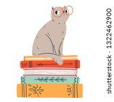 smart cat in glasses  vector...   Shutterstock .eps vector #1322462900