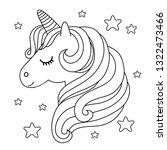 cute unicorn. black and white... | Shutterstock .eps vector #1322473466