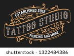 vintage tattoo logo with floral ... | Shutterstock .eps vector #1322484386