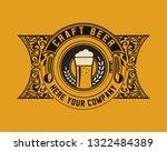 vintage beer label with floral...   Shutterstock .eps vector #1322484389