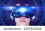 young man wearing vr headset... | Shutterstock . vector #1322522636