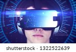 young man wearing vr headset... | Shutterstock . vector #1322522639