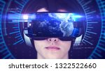 young man wearing vr headset... | Shutterstock . vector #1322522660