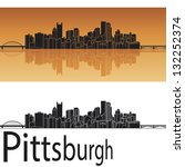 Pittsburgh skyline in orange background in editable vector file - stock vector
