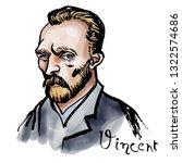 hand drawn watercolor portrait...   Shutterstock . vector #1322574686