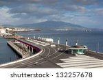 View to mountains of San Miguel island from Ponta Delgada marina, Azores, Portugal - stock photo