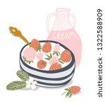 yogurt cream with fresh... | Shutterstock .eps vector #1322588909