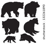 Silhouettes Of The Bears Vecto...