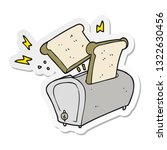 sticker of a cartoon toaster | Shutterstock .eps vector #1322630456