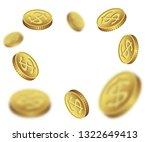 flying dollar coins on white... | Shutterstock .eps vector #1322649413