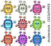 set of funny colorful cartoon... | Shutterstock .eps vector #1322654903