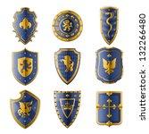 medieval shields set   Shutterstock .eps vector #132266480