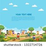 happy excited kids having fun... | Shutterstock .eps vector #1322714726