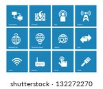 networking icons on blue... | Shutterstock .eps vector #132272270