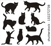 silhouettes of cats - stock vector