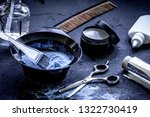hair dye with brush on dark... | Shutterstock . vector #1322730419