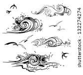 sea waves set. hand drawn...   Shutterstock .eps vector #132274274