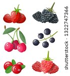 berry icon set. cranberry ... | Shutterstock .eps vector #1322747366