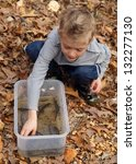 Small photo of Young boy with a cage full of wild salamanders caught in the woods - Spotted Salamander, Ambystoma maculatum
