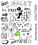 sale doodles hand drawn set | Shutterstock . vector #132277820