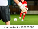 man scoring a goal at indoor... | Shutterstock . vector #132285800