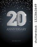 anniversary 20. silver 3d... | Shutterstock .eps vector #1322863649