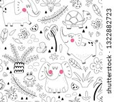 cute seamless pattern of doodle ... | Shutterstock .eps vector #1322882723