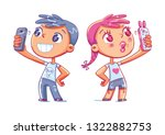 boy makes selfie. girl takes a... | Shutterstock .eps vector #1322882753