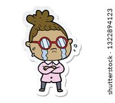 sticker of a cartoon crying... | Shutterstock .eps vector #1322894123